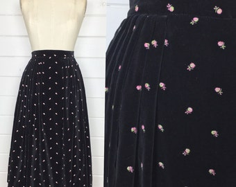 Vintage 1950s Black Velvet Floral Full Skirt / Pink Embroidered Roses / Made by Jo Collins / Midcentury