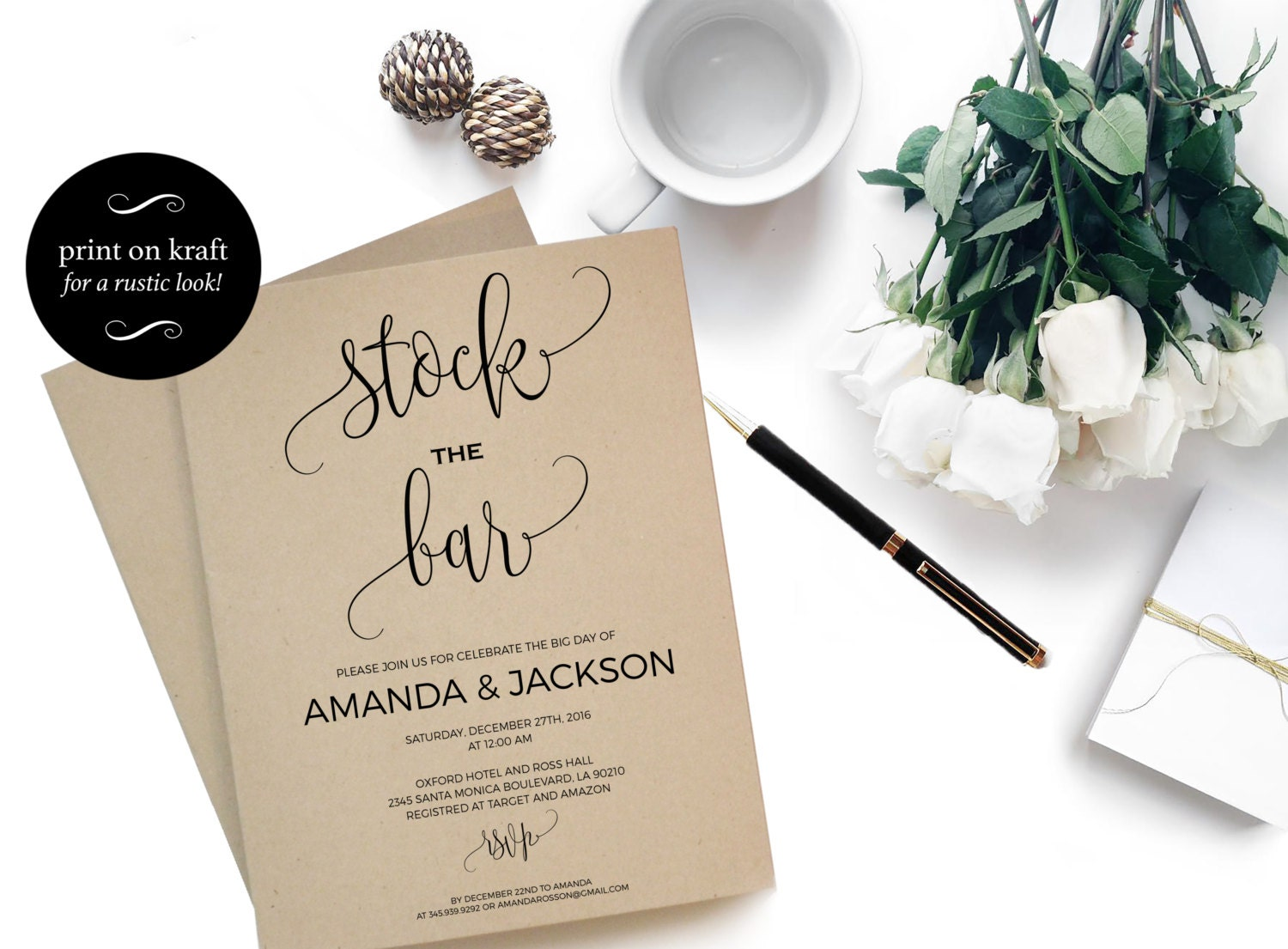 Stock the Bar Invitation Engagement Couples Shower