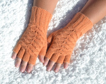 Cashmere half finger gloves, hand knitted cashmere gloves, orange gloves, knit winter gloves, women's very soft cable knit gloves