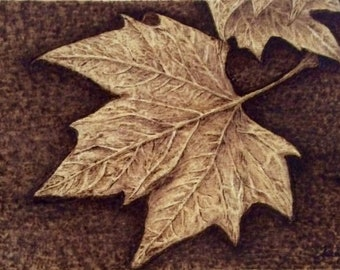 Wooden Pyrograpy Fallen Leaves Picture