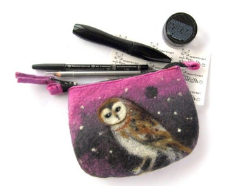 Barn owl Felt Coin Purse,Owl bag, small zipper Pouch, OWL Clutch,Cosmetic Makeup Bag,Wet Felted Ready to Ship