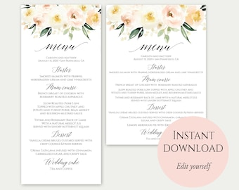 Wedding Menu Template, 5x7, 4x9, Wedding Menu Cards, Menu Cards, Editable Menu, PDF Template, Floral Menu, Party Menu, Printable Menu, C11