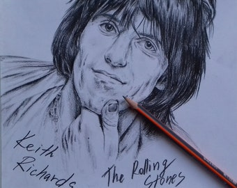 Drawing of Keith Richards from Rolling Stones
