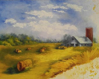 Hay Bales and Barn, Palette Knife Painting, Original Oil, Free Shipping