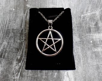 Silver Plated Pentacle Necklace - Pentagram Necklace - Pagan Necklace - Wiccan Necklace