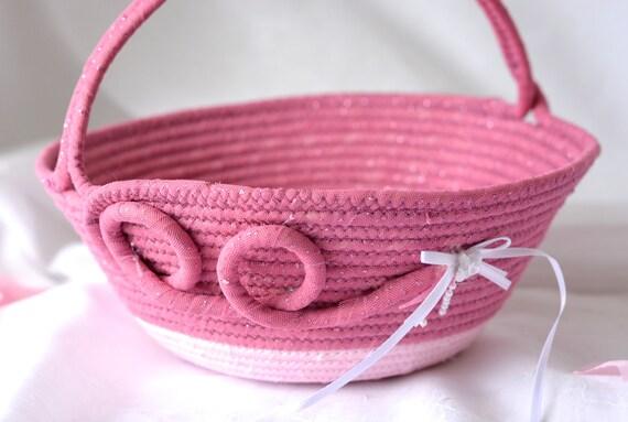 Mauve Pink Basket, Handmade Pink Flower Girl Basket, Artisan Quilted Fabric Basket, Bridal Shower Gift, Coiled Gift Basket,