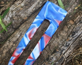 Red white blue acrylic hair fork