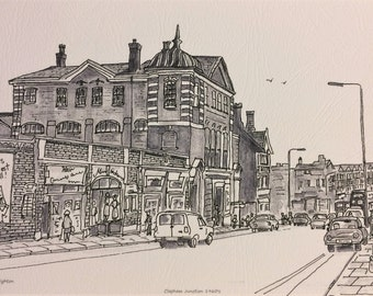 Clapham print etsy clapham junction back in the day print 7x 5 mounted in cardboard frame by artist bernie wighton reheart Choice Image
