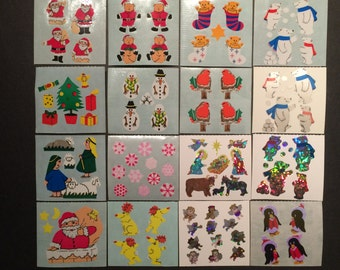 Stickermagic rare glossy, pearly, prismatic stickers - 16 squares of Christmas theme stickers