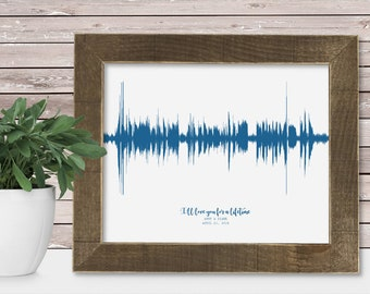 11th Anniversary Gift for Men 11 Year for Women Present Idea Him Her Gift Wife Husband Wedding Anniversary Personalized Couple Sound Wave