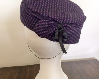 Vintage hat pillbox 1950 1960 kennedy hat purple bow houndstooth wedding church ascot