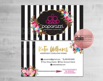 Paparazzi business card design, Custom cards digital template, Printable floral card, Marketing tool, Shop branding card, Business printable
