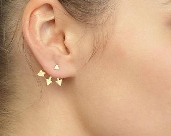 Arrow earrings, Ear Jackets, Jackets Earrings, Double Sided Earrings, Gold Double Sided Earrings, Arrow Stud Earrings, Front Back Earrings