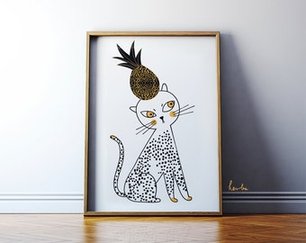 Cat illustration / Cat wall art print / A2 original poster / Cute cat with pineapple.