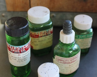Five green apothecary bottles set of five