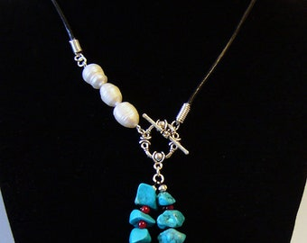 Kristi - Freshwater pearl and blue howlite necklace