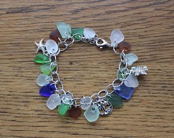 Loaded Beach Glass Charm Bracelet