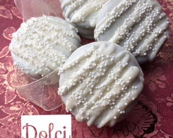 White Chocolate Covered Dipped Oreo Cookies, White Wedding Favors, White Baptism Christening Favors, Communion Favors for Boys or Girls