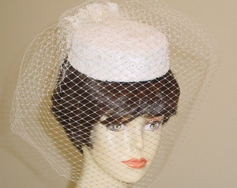Elegant Alencon Lace Pillbox Wedding Hat Made to Order Ships in 4 Weeks