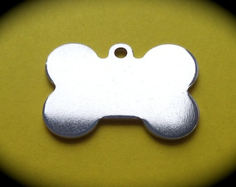 "10 - 1-3/8 "" x 1"" Dog Bone Charms 14 Gauge  with Hanging Loop Pure Food Safe Aluminum Qty 10"