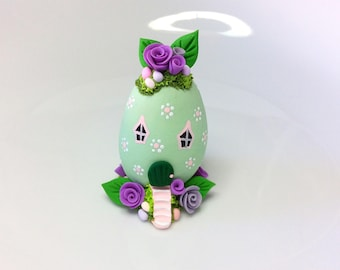 Miniature Easter egg fairy house with Spring flowers handmade from polymer clay