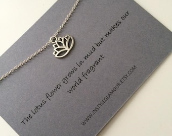 Lotus Necklace, Silver Lotus Necklace, Lotus Pendant, Layering Necklace, Boho Necklace, UK Seller,Mothers Day Gift