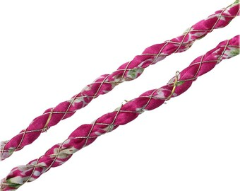 color FUCHSIA/flowers size 5.5 mm silk cord 1 m