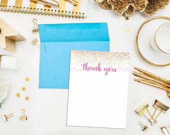 Confetti Pastel Thank You Cards with Pink envelopes. Confetti Note Cards. Confetti Thank You Cards. Birthday Thank You. Shower Thank You