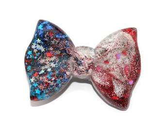 Patriotic Hair Bow Red White Blue Glitter Bow Independence Day Jewelry 4th of July Hair Clip Barette