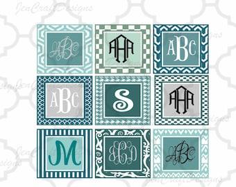 Patterned square monogram frames set Svg Eps Png Dxf, Cricut Design Space, Silhouette Studio, Digital Cut Files Instant download