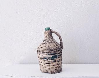 Vintage Green Glass Bottle // European Demijohn