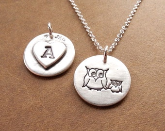 Personalized Small Mother and Baby Owl Necklace, New Mom Necklace, Heart Monogram, Fine Silver, Sterling Silver Chain, Made To Order