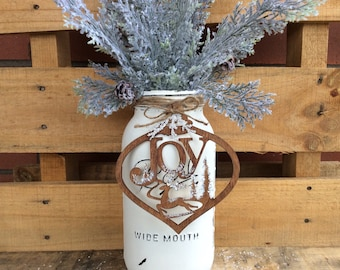 Painted Mason Jar. 1/2 Gallon Distressed Mason Jar. Christmas Decor. Vase. Gift. Rustic Centerpiece. Tree Ornament. Wood Ornament. Container