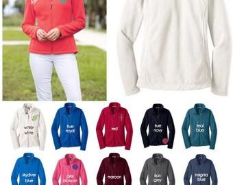 Fleece Monogram Jacket - Monogram Jacket - Women's Fleece - Full Zip Fleece Jacket - Embroidered Jacket