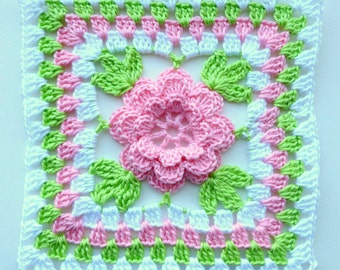 Instant Download Crochet PDF pattern - Flower in granny square