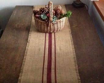 Rustic Burlap Table Runner 10-14x72, 84 or 96 Merlot Striped Burlap Runner