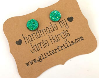 St. Patty's Day earrings. Druzy stud earrings. Green druzy earrings. Gifts under 10. Gifts for girls. St. Patty's day party.
