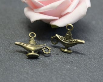 10 charms bronze metal 22 x 18 mm BRB69 magic lamp