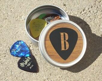 Guitar Pick Tin, guitar pick holder, musician gift, small gift for men, groomsmen best man, pick holder, fathers day guitar pick tin gift