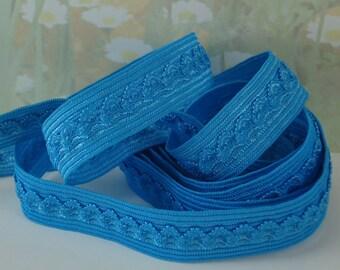 3yd Elastic lace Ruffle Ribbon lingerie Trim Azure Blue Fold Over 5/8 inch Headband FOE Picot elastic Bra Making Supplies Stretch Band