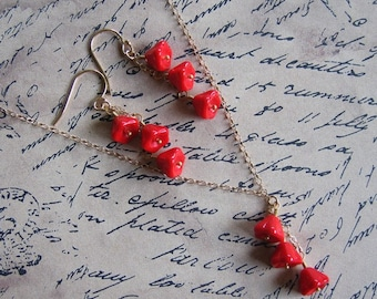 Red Poppies Earring and Necklace Set - Bright lipstick red glass flowers on 14k gold filled chain & earwires- sterling silver also available