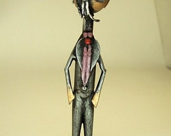 Goth Dude Gothic Guy in Ascot Wood Sculpture Figure