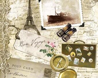 Bon Voyage NAPKINS, Travel Napkins, Paris Napkins, Travel Theme Napkins, Bon Voyage Party, Decoupage Napkins, Vintage Travel Napkins