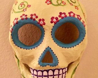 red blossom, day of the dead mask (2016). paper maché and acrylics.