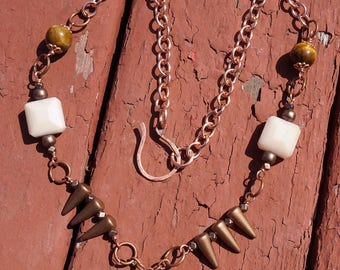 Tiger's Eye and Spikes Copper Necklace