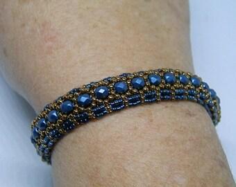 Weaving needle Blue Metallic and bronze bracelet