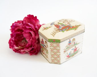 Vintage Tin Container / Daher England Asian Style Hinge Lid Storage Display Collectible Tin VGC