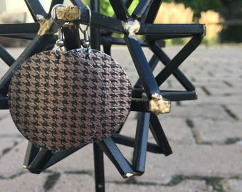 Houndstooth- Leather Earrings