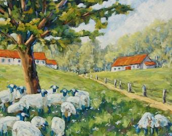 Sheep Huddled under the tree Farm Scene -  Original Oil Scene created by Richard T Pranke