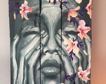 """Painting on wood """"Glad"""""""